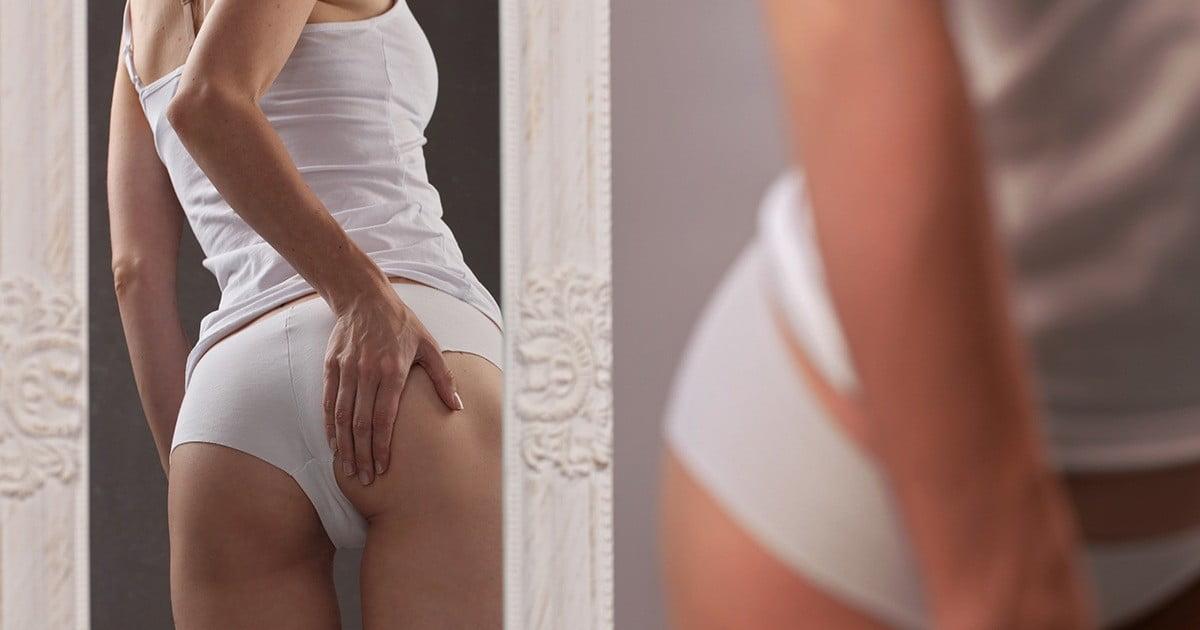 mulher na dúvida entre celulite vs gordura